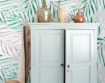 Minzig Palmblättern, Tapete, Palm Wand Dekor, Palm Wandbild, Tropischen  Moderne