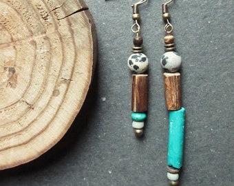 Earrings; Boho; Turquoise; Jasper; Wood; Coconut
