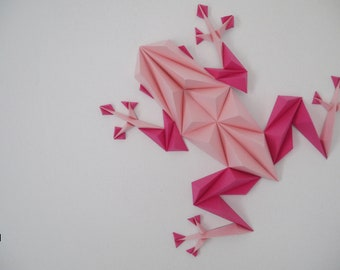 Frog 3D pinky, KIT papercraft, DIY, creating something unique with your hands, wall decoration, frogs's legs