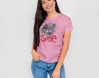 Smile - smile - graphic woman T-shirt pink
