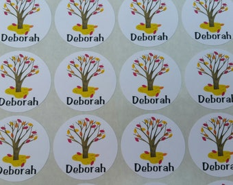 Personalized Fall Tree Stickers for Back to School, Name labels, cards, etc set of 20