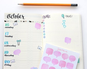 20  speech bubble, thought bubble, planner stickers, watercolor,pink, hand painted, planner decoration, to do, reminders, chores, SPC2