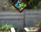 Wind Chime Glass Cedar Brass Copper Outdoor Suncatcher