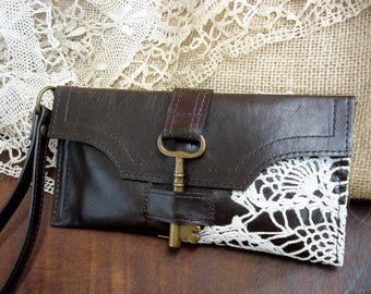 Brown Leather and Lace Boho Wristlet with Antique Key & Crochet Doily - Credit Card Holder Checkbook Wallet READY TO SHIP