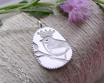 Sweetest Birdy On His Branch With His Royal Crown Etched In Sterling Silver On Sterling Chain Artist Made OOAK Bird Necklace