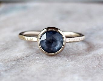Rose Cut Sapphire Ring, Unique Engagement Ring, Natural Blue Sapphire, Palladium White Gold Engagement Band, Ecofriendly Conflict Free