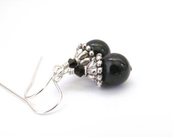 Black Pearl Earrings Sterling Silver, Swarovski Crystal Pearls, Dangle Drop Affordable Jewelry