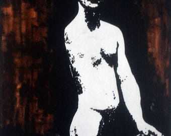 """Male Nude #86 One Armed Bandit Acrylic Painting 20x16"""""""