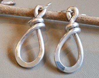 Teardrop Hoop Earrings, Light Weight Aluminum Jewelry, Wire Dangle Earring, Hammered Metal Teardrop Earrings, Womens Gift for Her