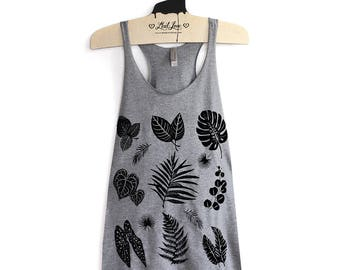 L -Tri-Blend Heather Gray Racerback Tank with Plant Leaves Screen Print