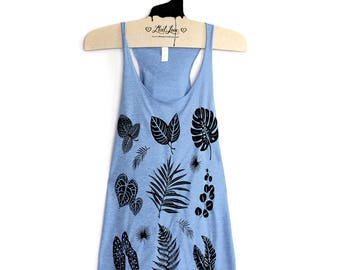S -Tri-Blend Heather Periwinkle Racerback Tank with Plant Leaves Screen Print