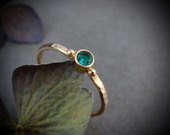 tiny nature spirit ... solid 14k gold emerald stack ring