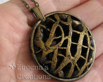 Openwork Pendant, Voronoi-style jewelry, coffee brown, statement necklace, round pendant, one of a kind