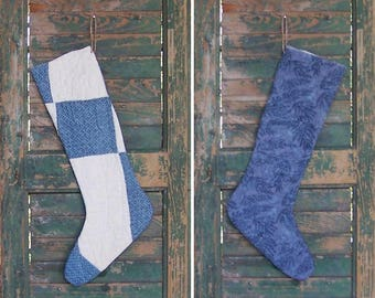 Rustic Christmas Stocking, Farmhouse Decor, Antique Quilt Primitive Stocking, Log Cabin Decor, Blue & White - CIJ SALE