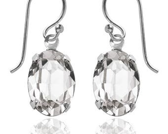 Swarovski Crystal Oval Drop Earrings Sterling Silver Crystal or CHOICE OF COLOURS