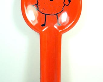 spoon rest with Mr. T. Tot Tater Tot print on Clementine Orange READY TO SHIP