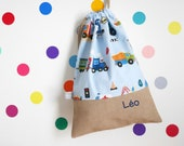 Customizable drawstring pouch - kindergarden - vehicles - firetruck - train - boat - police car - school - cuddly toy - slippers - toys