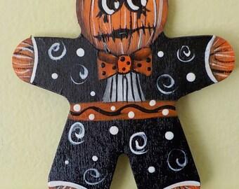 Halloween Pumpkin Man Ornie Jack O Lantern Hand Painted Ornament #5