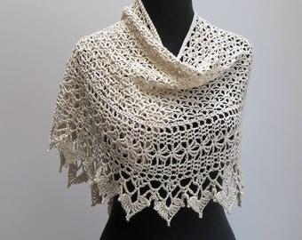 Custom Made Crochet Lace Scarf Shawl Wrap, Ivory Cream Off-White, Pima Cotton Acrylic, FREE SHIPPING