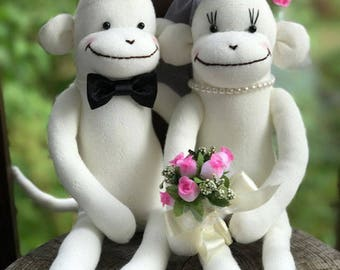 MADE-TO-ORDER Wedding Sock Monkey Doll(Pink) - Wedding Dolls,Wedding Gift, Wedding Decor