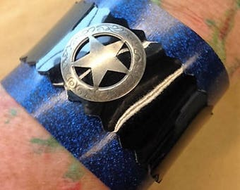 Sale!! Blue sparkle cuff with silver star stud