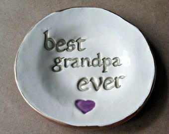 Ceramic Trinket Dish for GRANDPA Catch All Coin holder dish for Dad edged in gold best papa ever