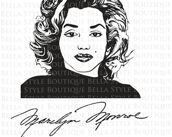 Marilyn Monroe and Signature svg cut file