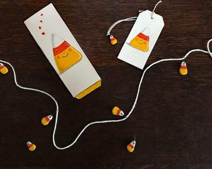 CANDY CORN GARLAND | Halloween Decor | Candy Corn Halloween Party Garland | Gift for Halloween | Clay Candy Corn Garland | Val Walsh Gifts