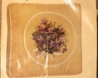 Bucilla VIOLET NOSEGAY Vintage Purple Flower Bouquet Needlepoint Pillow Kit RARE
