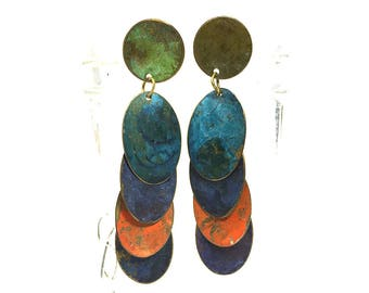 80s LONG Enamel Earrings Ethnic Avant Garde Primitive Painted Brass Dangle Oval Studio Artisan Earrings Bohemian Gypsy Statement Earrings
