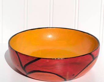Orange Hand Painted Bowl - Upcycled Bowl -  Jewelry or Ring Dish - Coin or Key Holder - Catchall for Dresser or Entryway