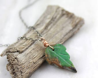 Carved Turquoise Leaf Necklace