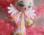 Small Vintage Style Retro Kitsch Christmas Angel Tree Ornament - Vintage Ditsy Pink