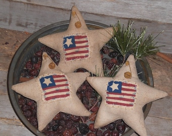 3 - Primitive - Rustic - Patriotic - Americana  - July 4  - Independence Day - USA Flag - Stars - Ornies - Ornaments - Bowl Fillers -Tucks
