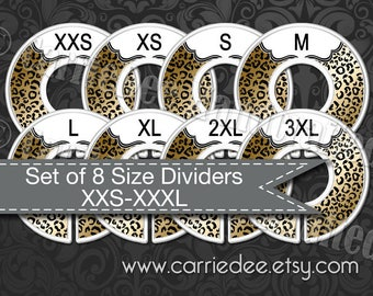 Assembled Clothing Size Dividers, Consultant Tools, LuLaRoe Size Divider Set, Cheetah Print Dividers, Safari, Live Sale, LLR Size Cards