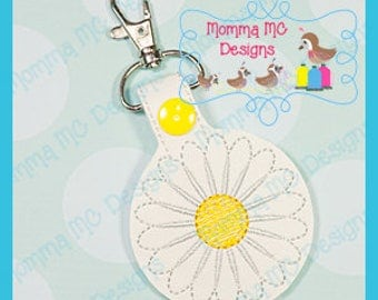 Daisy Key Fob Snap Tab Machine Embroidery Design