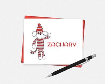 Sock Monkey Note Cards - Personalized Sock Monkey Folded Note Cards - Personalized Stationery for Kids - Sock Monkey Note Card
