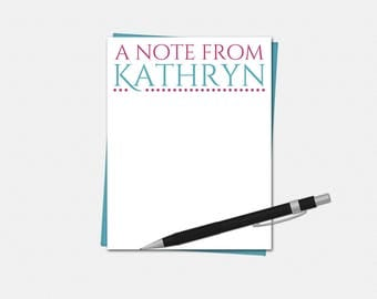 Personalized Flat Note Cards - Personalized Stationery - 50 Colors - A Note From Note Cards - Teacher Note Cards - Custom Note Cards