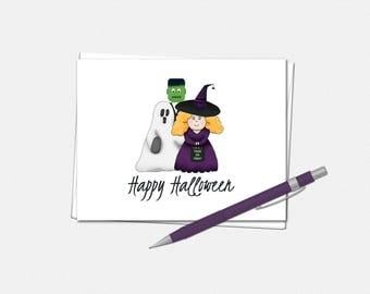Happy Halloween Card - Trick or Treaters Halloween Card - Halloween Greeting Card - Cute Halloween Card - Dressed Up Kids Halloween Card