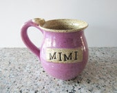 Mimi Gift Mug - 14 oz - Ready to Ship - Violet Pink and Oatmeal Glazes Coffee Cup with thumb rest