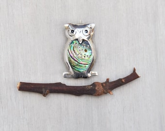 Vintage Mexican Owl Brooch - small 925 sterling silver abalone shell inlay belly bird pin - BRD Mexico eagle 3 mark