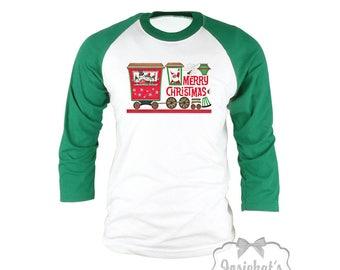 Christmas Train Shirt - Santa Christmas Shirt -  Christmas Baseball Green Shirt - Womens Mid Century - Retro Adult Unisex S M L Xl 2Xl 3XL