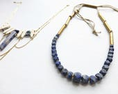 Lapis Lazuli//Brass + leather stone necklace//gift for woman//gift for yogi//broad street jewelry//ooak//statement necklace//stone rosary