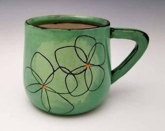 Handmade Mug, Porcelain Mug, Ceramic Mug, Coffee Cup, Pottery Mug with Rose,  14 ounce mug