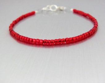 Red Beaded Bracelet, Red Friendship Bracelet, Dainty Holiday Jewelry, Delicate Seed Bead bracelet, Christmas Seasonal, Stocking Stuffer