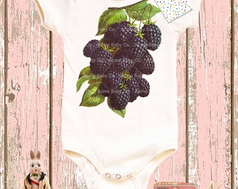 Baby Gift, Vintage Fruit, Blackberry Bodysuit, Shower Gift, Blackberry Onesie, Baby Girl, Baby Boy, Organic Onesie, Shower Gift