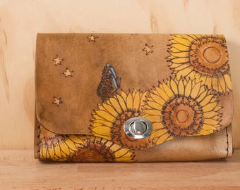Small Leather Bag - Minimalist Purse or Clutch in the Celestial Pattern with Sunflowers, Butterflies and Stars - Brown Leather