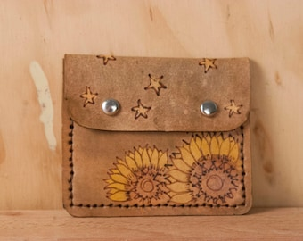Credit Card Wallet - Womens Slim Wallet in the Celestial Pattern with Sunflowers and Stars - Leather Wallet in Yellow and antique brown
