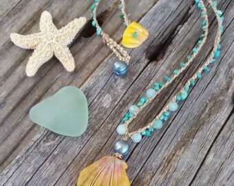 Sunrise Shell Necklace, Crocheted Sunrise Shell Necklace, Hawaiian Jewelry, Sunrise Shell Jewelry, Beach Jewelry, Beachy Boho, Turquoise