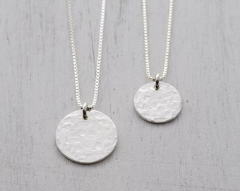 Small Hammered Sterling Silver Disc Necklace - Silver Circle Necklace - Silver Disc Pendant - Layering Necklace - Textured Disc Pendant